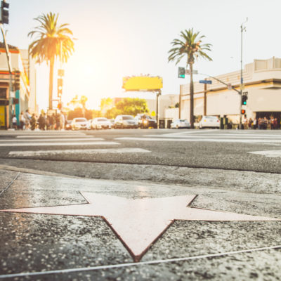 Walk of Fame at sunset on Hollywood Boulevard